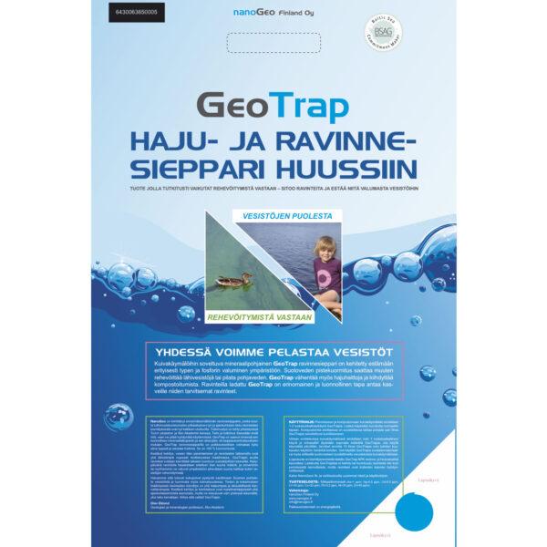 GeoTrap harmaan veden suodatinmassa suodatinpussissa