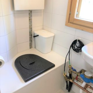 Green Toilet with bench seat