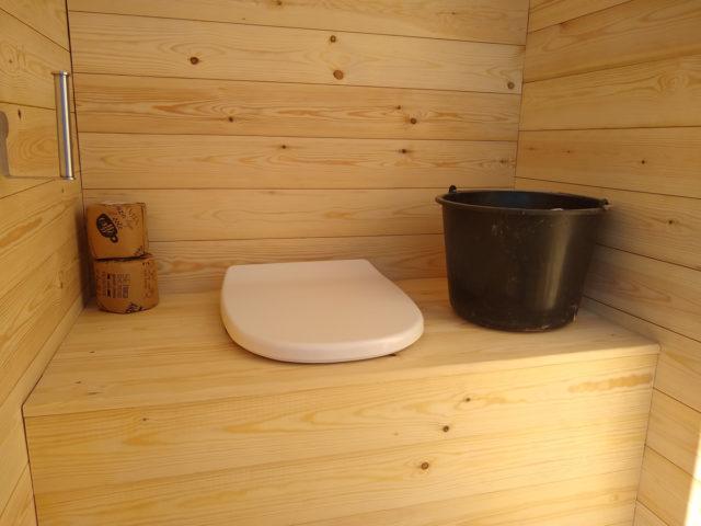 inside composting toilet
