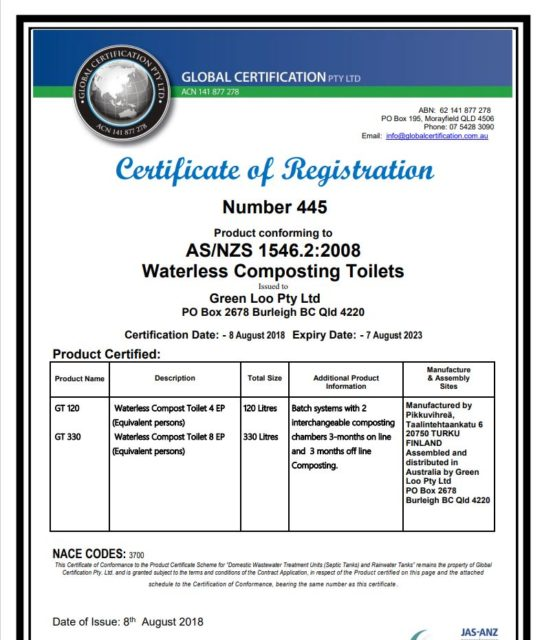 Green Toilet certificate