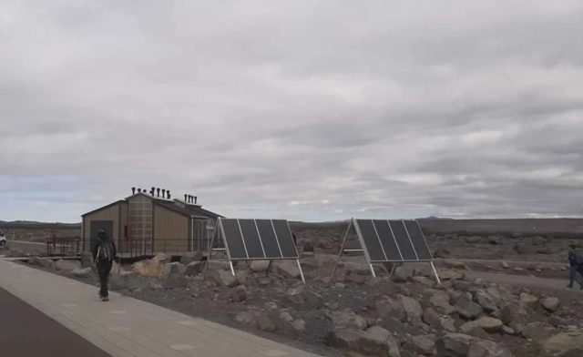 solar powered toilet lights in Iceland